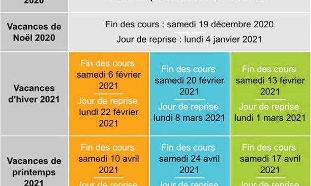 Calendrier des vacances scolaires 2020-2021