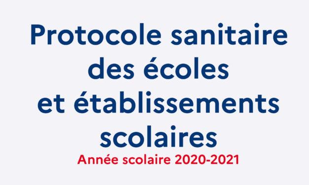Protocole sanitaire de rentrée 2020/2021