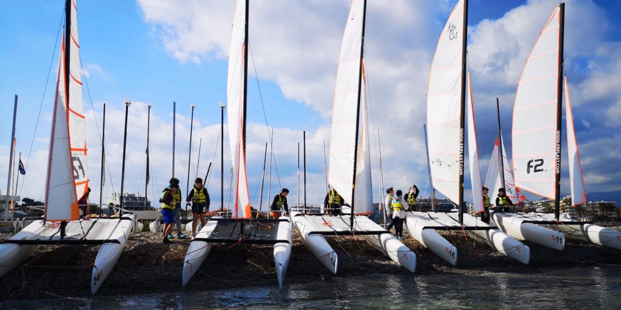 Enseignement des sports nautiques – Navigation des élèves de 5ème sur les catamarans